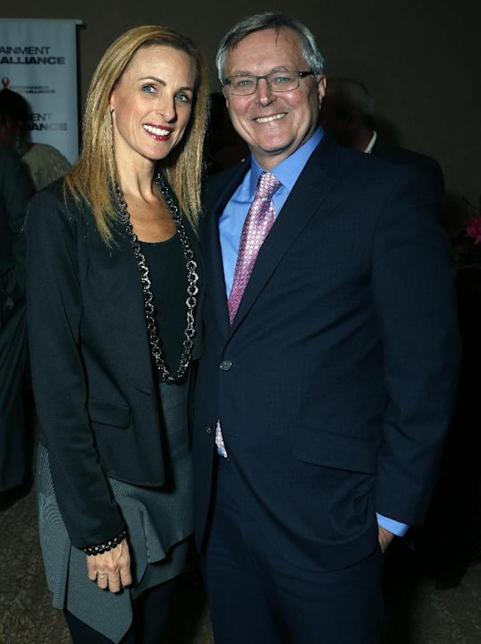 Marlee Matlin (left) and David Bishop, President Sony Pictures Home Entertainment (right) are seen at the Visionary Awards benefiting the Entertainment AIDS Alliance, on Wednesday, Nov. 14, 2012 in Lo