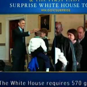 Obamas and first dogs surprise resumed W.H. tour