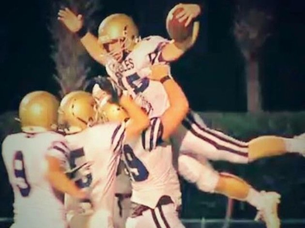 Palmetto Christian Academy's J.T. Waters celebrates one of his eight touchdowns on Tuesday -- Facebook