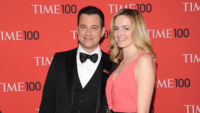 """Talk show host Jimmy Kimmel and fiancee Molly McNearney attend the TIME 100 Gala celebrating the """"100 Most Influential People in the World"""" at Jazz at Lincoln Center on Tuesday April 23, 2013 in New York. (Photo by Evan Agostini/Invision/AP)"""