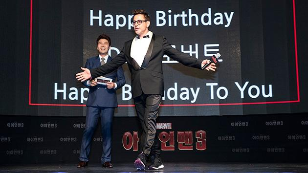 'Iron Man 3' star Robert Downey Jr. celebrates his birthday at Time Square in Seoul, South Korea.