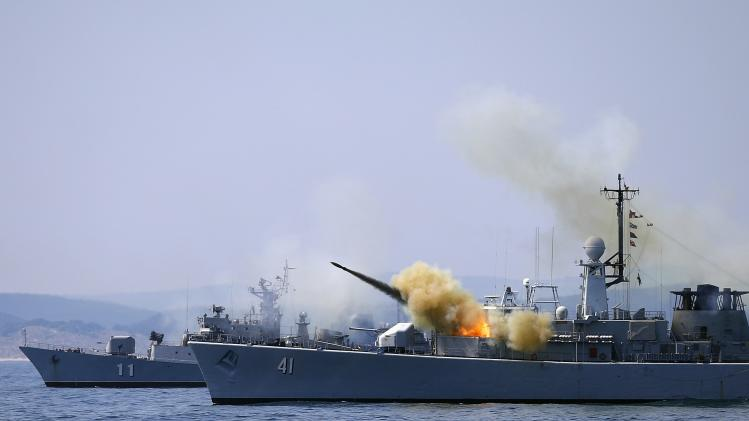 "A missile is launched from the Bulgarian navy frigate ""Drazki"" during BREEZE 2014 military drill in the Black Sea"
