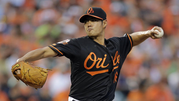 Baltimore Orioles starting pitcher Wei-Yin Chen, of Taiwan, throws to the Seattle Mariners in the first inning of a baseball game, Friday, Aug. 1, 2014, in Baltimore. (AP Photo/Patrick Semansky)