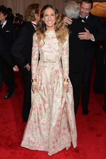 Sarah Jessica Parker wears a floral print at the 'Schiaparelli And Prada: Impossible Conversations' Costume Institute Gala at the Metropolitan Museum of Art in New York City on May 7, 2012  -- Getty Images