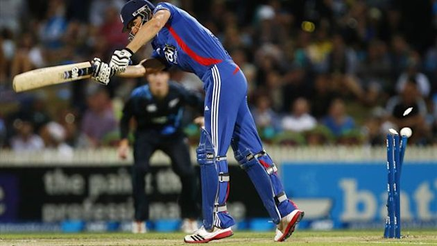 England's Alex Hales is bowled by New Zealand's Mitchell McClenaghan during their T20 international cricket match at Seddon Park in Hamilton February 12, 2013 (Reuters)