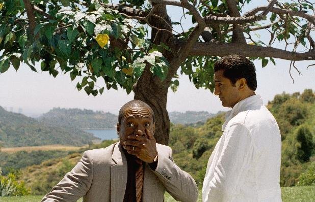 "In this film image released by Paramount Pictures, Eddie Murphy, left, and Cliff Curtis are shown in a scene from ""A Thousand Words."" (AP Photo/Paramount - DreamWorks Pictures, Bruce McBroom)"