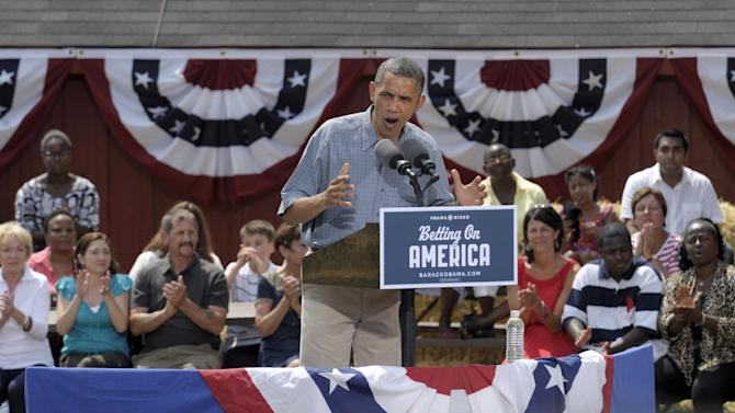President Barack Obama speaks at the Wolcott House Museum Complex in Maumee, Ohio, Thursday, July 5, 2012. Obama is on a two-day bus trip through Ohio and Pennsylvania.(AP Photo/Susan Walsh)