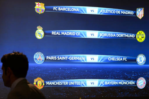 CHAMPIONS LEAGUE QUARTER FINAL DRAW REAL MADRID VS DORTMUND MANCHESTER UNITED VS BAYERN MUNICH CHELSEA VS PSG BARCELONA VS ATLETICO MADRID