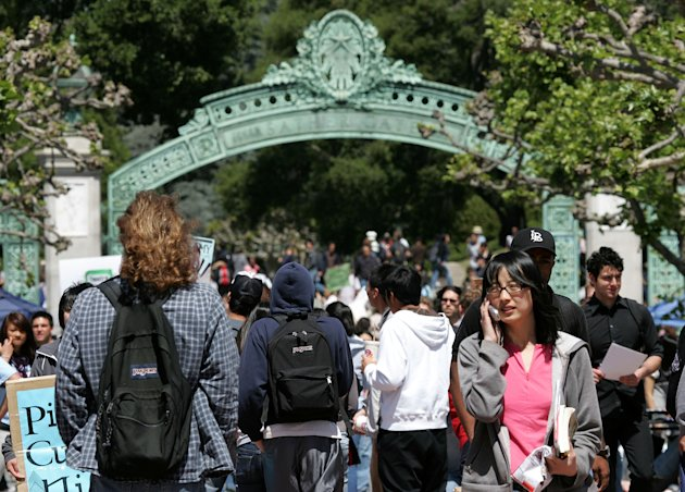 UC Berkeley students walk through Sather Gate on the UC Berkeley campus in Berkeley, California.