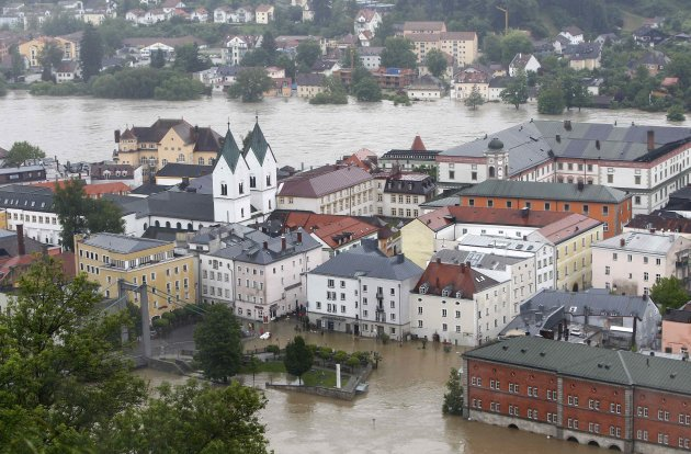 General overview of the flooded centre of Passau