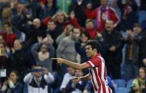 Atletico Madrid's Costa celebrates goal during Spanish first division soccer match against Betis at Vicente Calderon stadium