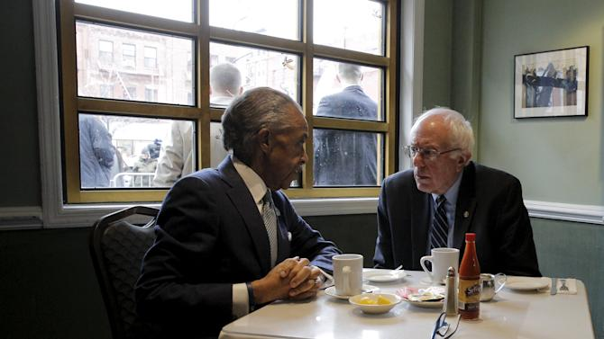 Democratic U.S. presidential candidate Sanders meets with the Rev. Sharpton at Sylvia's Restaurant in the Harlem section of New York