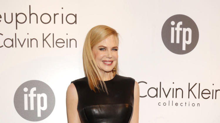 FILE - This May 16, 2013 file photo shows actress Nicole Kidman wearing a black leather Calvin Klein dress at the Calvin Klein party, in Cannes, southern France. (Photo by Todd Williamson/Invision/AP, file)