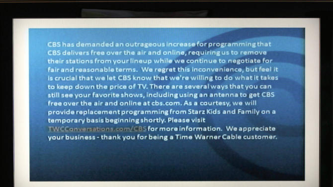Time Warner Cable drops CBS in NY, LA, Dallas