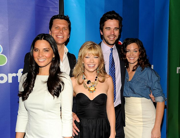 The cast of &quot;[ytvshow id=Perfect Couples&quot; (L-R) Olivia Munn, Hayes MacArthur, Mary Elizabeth Ellis, David Walton, and Christine Woods attend the 2010 NBC Upfront presentation at The Hilton Hotel on Ma