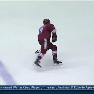 Keith Yandle beats Poulin on a screen