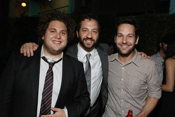Jonah Hill , producer Judd Apatow and Paul Rudd at the Los Angeles premiere of Columbia Pictures' Superbad
