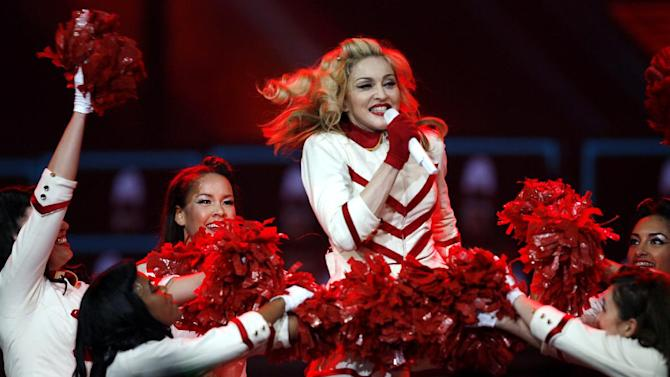 Madonna performs at the Joe Louis Arena on Thursday Nov. 8, 2012, in Detroit. (Photo by Gary Malerba/Invision/AP)