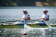 Katherine Grainger and Anna Watkins of Great Britain compete in women's double sculls at the 2011 world rowing championships in Slovenia