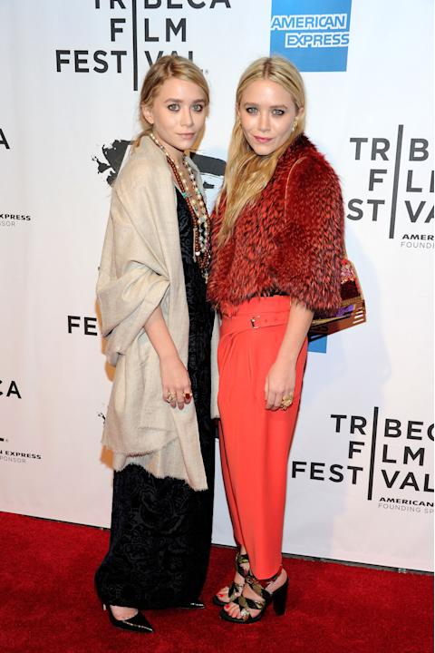 Mary-Kate and Ashley Olsen in old-lady couture