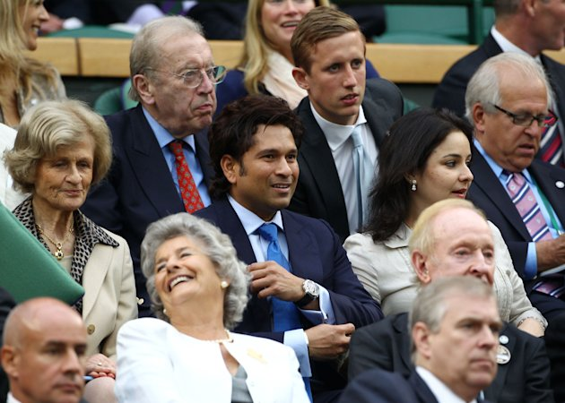 Sachin Tendulkar and wife Anjali in the Royal Box on Centre Court at Wimbledon