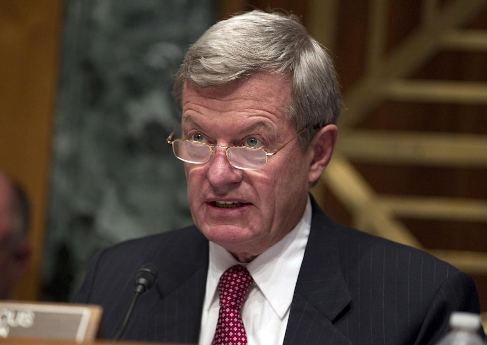 Sen. Max Baucus, D-Mont., speaks during a Senate Finance Committee markup session of the Colombia, Panama, and South Korea free trade agreements on Capitol Hill on Tuesday, Oct. 11, 2011, in Washington.  (AP Photo/Evan Vucci)