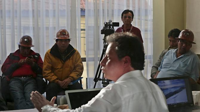 Bolivia's Mining Minister Navarro attends a meeting with mine workers in La Paz