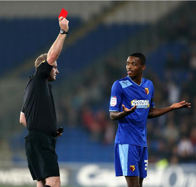 Watford's Nathaniel Chalobah is sent off by referee Mark Heywood