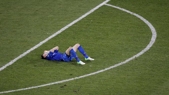 Poland goalkeeper Przemyslaw Tyton lies dejected after the Euro 2012 soccer championship Group A match between Czech Republic and Poland in Wroclaw, Poland, Saturday, June 16, 2012. (AP Photo/Antonio Calanni)