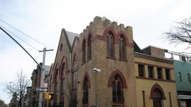 "This April 7, 2013 image shows the Nazarene Congregational Church in Bedford-Stuyvesant, Brooklyn. Baseball great Jackie Robinson was close to the church's assistant pastor, the Rev. Lacy Covington, and at one time Robinson, whose son struggled with drug addiction, made a speech in the church warning against the scourge of drugs. Robinson lived nearby for a time after joining the Brooklyn Dodgers, becoming the first African-American to play for a Major League Baseball team, a story that is told in a new movie, ""42."" (AP Photo/Beth J. Harpaz)"
