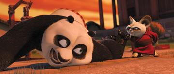 Po (voiced by Jack Black ) and Shifu (voiced by Dustin Hoffman ) in DreamWorks Animation's Kung Fu Panda