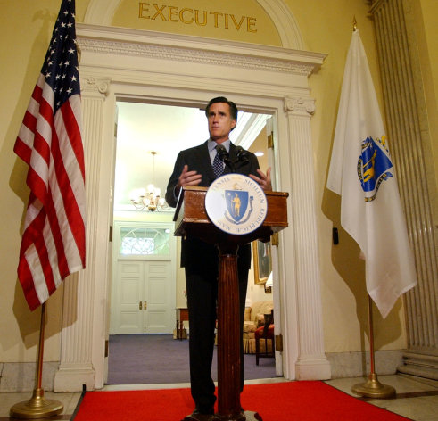 "FILE - In an April 29, 2005, file photo Massachusetts Gov. Mitt Romney speaks to media gathered at the Statehouse in Boston and addresses issues, such as the resurrection of the death penalty in the state. Romney pushed to create what he called the ""gold standard"" for the death penalty, a bill that ultimately failed. (AP Photo/Lisa Poole, File)"
