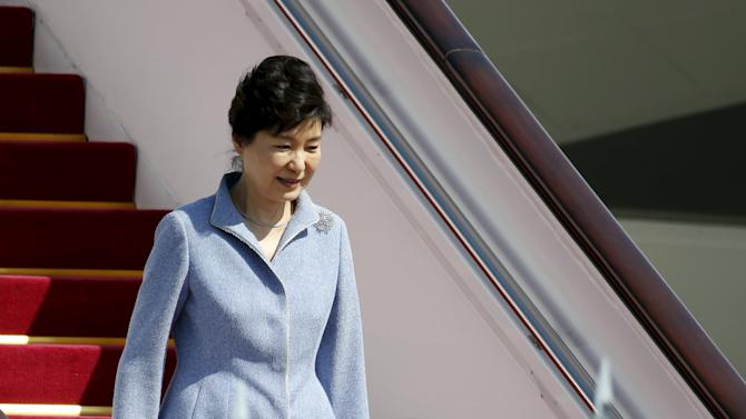 South Korean President Park Geun-hye arrives at Beijing Capital International Airport in Beijing
