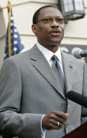 FILE - In a Thursday, June 26, 2008 file photo, James Ammons, President of Florida A & M University, announces that the school has had it's accreditation restored by the Southern Association of Colleges and Schools, in Tallahassee, Fla. Hundreds of pages of public records show an apparent disconnect between years of repeated warnings about brutal hazing at FAMU and any serious response from FAMU's leadership until the November 2011 beating death of drum major Robert Champion. (AP Photo/Phil Coale, File)