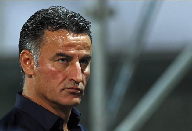 Saint Etienne's head coach Galtier leaves pitch at half time during French Ligue 1 soccer match in Marseille