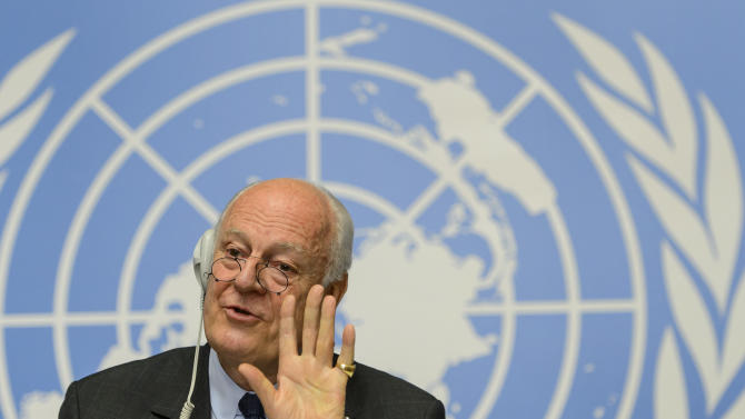 The UN Special Envoy of the Secretary General for Syria Staffan de Mistura speaks during a press conference on the situation in Syria at the European headquarters of the United Nations, in Geneva, Switzerland, Tuesday, May 5, 2015. (Jean-Christophe Bott/Keystone via AP)