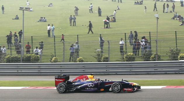 Red Bull Formula One driver Vettel drives during the qualifying session of the Indian F1 Grand Prix at the Buddh International Circuit in Greater Noida