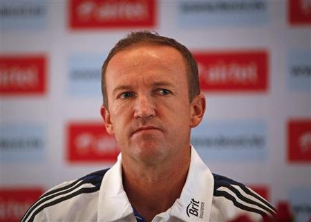 England's team coach Flower attends a news conference before the first three day first practice match against India A cricket team in Mumbai