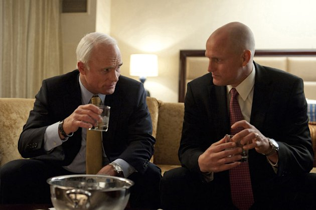 "Ed Harris as John McCain and Woody Harrelson as Steve Schmidt in ""Game Change."""
