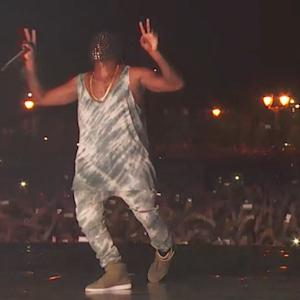 Kanye West performs at Jay-Z's Made in America Music Festival