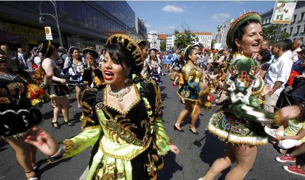 Revellers perform during the Karneval der Kulturen (Carnival of Cultures) a street parade of Berlin's ethnic minorities