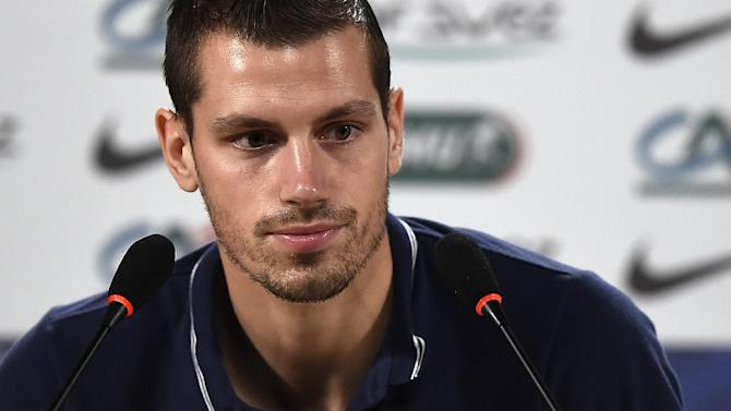 Midfielder Morgan Schneiderlin attends a press conference at the theater in Ribeirao Preto on June 27, 2014, during the 2014 FIFA World Cup in Brazil
