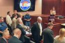 In this image taken from video, Hillary Fay Allen, top right, a former fellow grad student with Colorado theater shooter James Holmes, stands after giving testimony during a day of the trial of Holmes, pictured at top second from left in light-colored shirt, in Centennial, Colo., Friday, June 19, 2015. The prosecution in the Colorado theater shooting trial is wrapping up its case against James Holmes. (Colorado Judicial Department via AP, Pool)