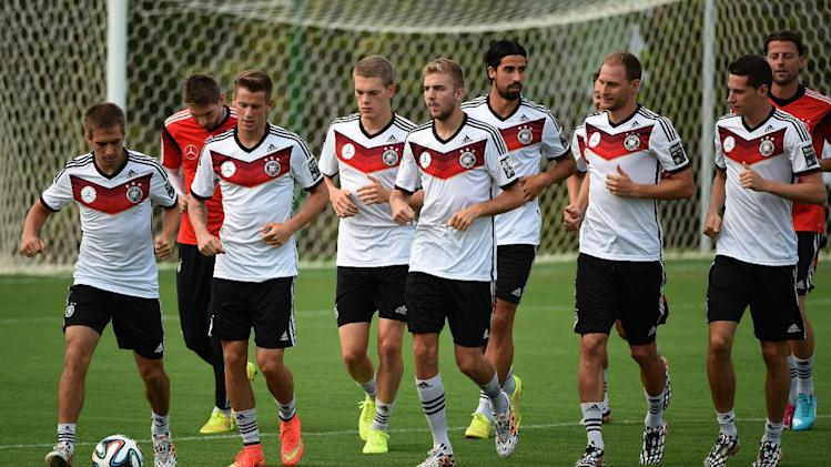 The Germany national team warms up during a training session in Santo Andre on July 10, 2014