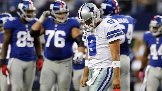 Dallas Cowboys quarterback Tony Romo (9) leaves the field following a play in the second half of their NFL football game against the New York Giants, Sunday, Oct. 28, 2012, in Arlington, Texas. The Giants won 29-24. (AP Photo/Sharon Ellman)