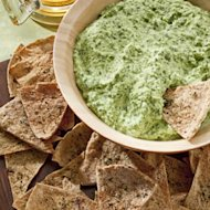 Creamy Spinach Dip and Garlic & Herb Pita Chips