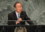 UN Secretary-General Ban Ki-Moon addresses the 67th meeting of the General Assembly at headquarters in New York on September 25. He warned Saturday that Muslim-Buddhist unrest in Myanmar&#39;s Rakhine state could hit the country&#39;s landmark reforms and spill across borders, a UN spokesman said