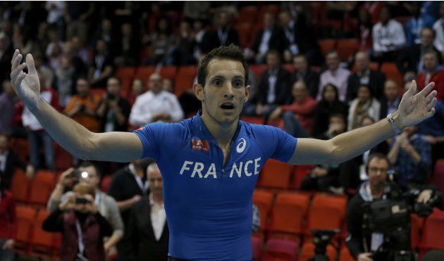 Lavillenie of France reacts after clearing the 6.07 metres bar in the Pole Vault Men Final at the European Athletics Indoor Championships in Gothenburg