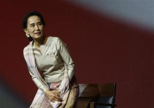 Myanmar's opposition leader Aung San Suu Kyi speaks to the Myanmar community living in Singapore on the island of Sentosa in Singapore