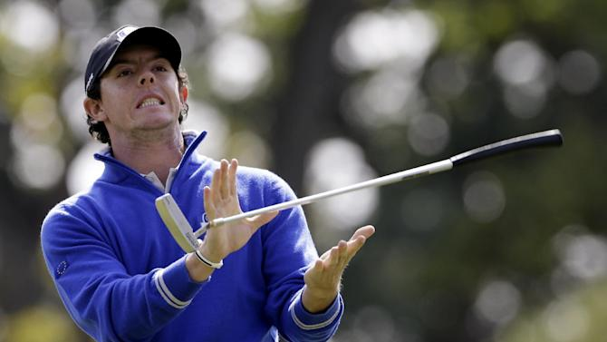 Europe's Rory McIlroy reacts to a putt on the seventh hole during a practice round at the Ryder Cup PGA golf tournament Wednesday, Sept. 26, 2012, at the Medinah Country Club in Medinah, Ill. (AP Photo/Chris Carlson)